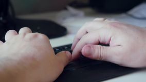 Close-up of typing on  keyboard of male hands. 1920x1080 stock video footage