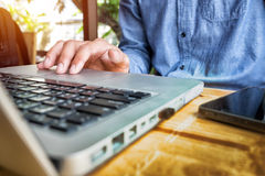 Close-up of typing male hands Royalty Free Stock Photos