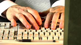 Close-up typing time lapse. Close-up hands typing at comp keyboard time lapse stock video footage
