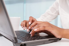 Close up of typing woman Royalty Free Stock Photo