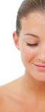 Close-up Uśmiechnięta kobieta podczas zdroju traktowania Zdjęcia Stock
