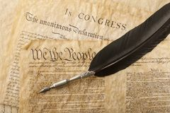 Close-up of the U.S. Constitution Stock Photo