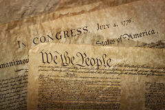 Close-up of the U.S. Constitution Royalty Free Stock Photo