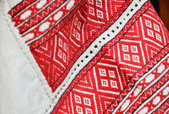 Close-up of the Ukrainian embroidery Royalty Free Stock Photography
