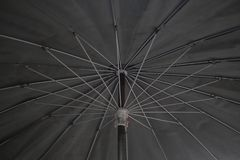 Bottom view of black umbrella texture background. Monotone image. Close up of umbrellas covered in bottom view of Steel frame black umbrella. Monotone image stock images