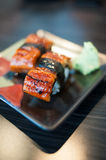 Close up of Unagi Sushi Set Japan eel Royalty Free Stock Images