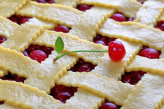 Close-up of uncooked sour cherry pie Royalty Free Stock Photo