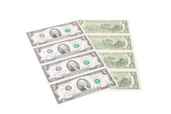 Close up of uncut two-dollar bills. Royalty Free Stock Image