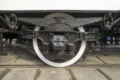 Close-up of undercarriage retro tram Royalty Free Stock Images