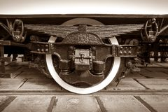 Close-up of undercarriage retro tram. Close-up of the running gear of the old tram Stock Images