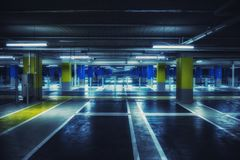 Close up on underground parking with empty slots Stock Images
