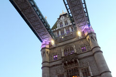 Close Up Underneath of London Tower Bridge at Twilight England UK Royalty Free Stock Images
