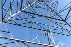 Underview of Structured  Metal Engineering of Overhead Electrici Royalty Free Stock Image