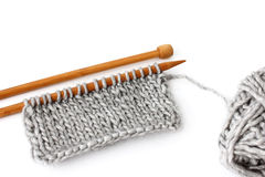 Close-up of unfinished knitting project Royalty Free Stock Photography