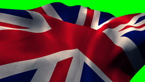 Union flag waving against green screen. Close-up of union flag waving against green screen stock footage
