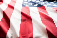 Close up United States of America flag. USA Independence day royalty free stock photo