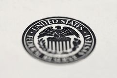 Close-up of United States Federal Reserve System symbol. United States Federal Reserve System symbol royalty free stock image