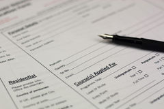 Close up of a university application form Royalty Free Stock Photography