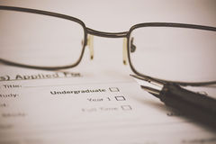 Close up of a university application form Royalty Free Stock Photo