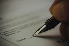 Close up of a university application form Royalty Free Stock Image
