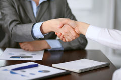 Close up  of unknown  business people handshake Stock Image