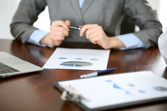 Close up  of unknown  business people at meeting discussing financial results Stock Photography