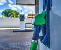 Unleaded fuel nozzle close up Stock Photos