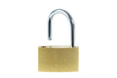 Close-up of an unlocked padlock. Viewed from front, isolated on white background stock photos