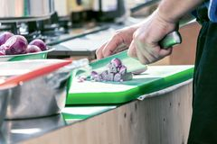 Close up of unrecognizable cook cutting onions and other vegetables with chef knife while working stock image