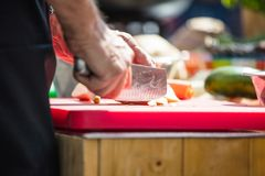 Close up of unrecognizable cook cutting onions and other vegetables with chef knife while working royalty free stock images