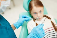 Kid scared of dental stock images