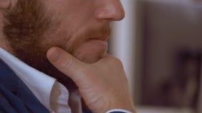 Closeup redheaded bearded guy stock video