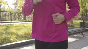 Close-up of an unrecognizable young Caucasian woman with long tail hair running in the autumn park. Female runner in. Pink sportswear training in the morning stock video footage