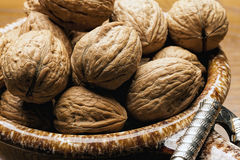 Close up of unshelled walnuts. Stock Photography