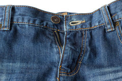 Close-up of unzipped and unbuttoned blue jeans Stock Images