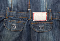 Close up up of blue jeans pockets and label Royalty Free Stock Photo