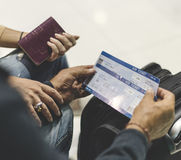 Close up up boarding passes couple traveling royalty free stock photo