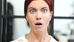 Close Up of Upset Business Woman in Shock stock footage