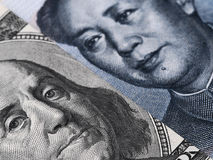 Close up of US dollar bill (Ben Franklin) and China yuan banknot Stock Photography