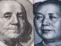 Close up of US dollar bill (Ben Franklin) and China yuan banknot Stock Image
