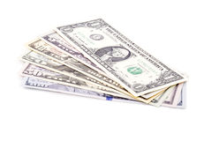 Close up of US dollar bills of various denominations Royalty Free Stock Image