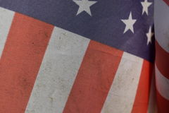 Close-up of US flag on display. With red, white, and blue stars and stripes stock photos