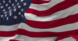 USA Flag Blowing in the Wind. Close up USA flag blowing in the wind, looped slowmotion stock video footage