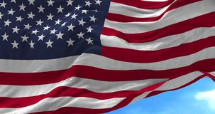 USA Flag Blowing in the Wind. Close up USA flag blowing in the wind, slowmotion stock video footage