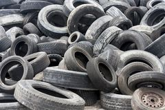 Close up of used and discarded tires. COLLIER COUNTY, FLORIDA, USA - APRIL 3, 2018: Used and discarded tires are piled up in recycling area of Collier County stock photo