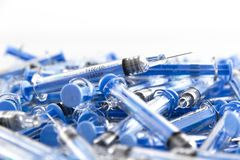Close up on used needles royalty free stock images