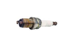 Close up of used spark plugs with focus on the electrode with deposits Royalty Free Stock Photography