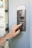 Close-up of uses intercom Stock Photo