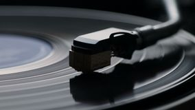 Close-up of using an antiquarian vinyl record player