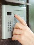 Close-up of  using  intercom Royalty Free Stock Image
